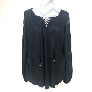 Free people black lace up studded tunic top